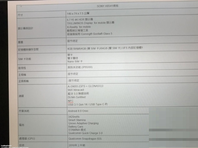 疑似Sony旗艦手機規格流出 H8541採5.7吋4K螢幕